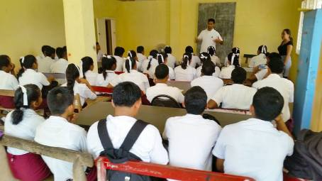 Imam Baksh author session in classroom northwest Secondary school Mabaruma Guyana