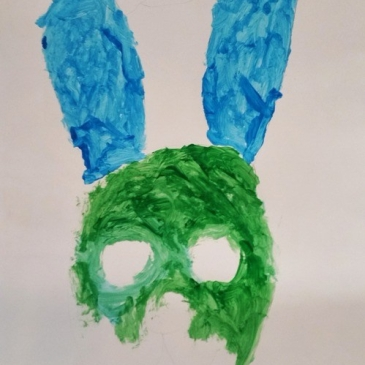 broken and haunted bunny rabbit Easter art painting